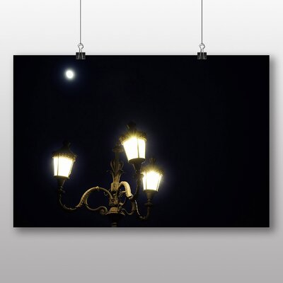 Big Box Art 'Full Moon and Street Lamps' Photographic Print