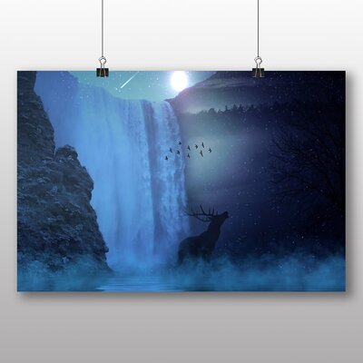 Big Box Art Hirsch Waterfall with Stag Graphic Art Wrapped on Canvas