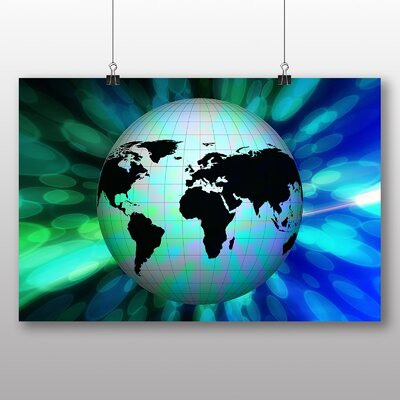 Big Box Art Earth Globe Abstract No.5 Graphic Art Wrapped on Canvas