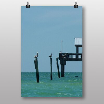 Big Box Art Fishing Pier with Pelicans Photographic Print Wrapped on Canvas