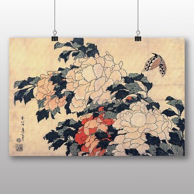 "Big Box Art ""Peonies and Butterfly Japanese Oriental Art"" by Hokusai Art Print"