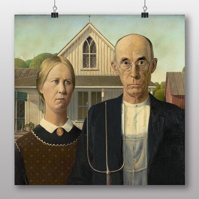 "Big Box Art ""American Gothic"" by Grant Wood Art Print Wrapped on Canvas"