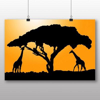 Big Box Art Giraffe Silhouette at Sunset Graphic Art on Canvas
