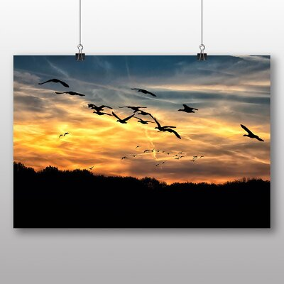 Big Box Art Geese Sunset Photographic Print Wrapped on Canvas