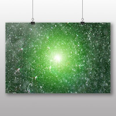 Big Box Art Green Blurred Fairy Lights Abstract No.1 Graphic Art Wrapped on Canvas
