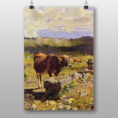 "Big Box Art ""Brown Cow at the Wateringhole"" by Giovanni Segantini Art Print"