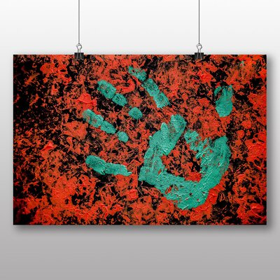 Big Box Art Hand Print Red Green paint Abstract No.1 Graphic Art