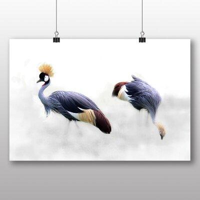 Big Box Art Grey Crowned Cranes Bird Graphic Art on Canvas