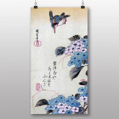 "Big Box Art ""Japanese Oriental Hydrangea and Kingfisher"" by Hiroshige Art Print"
