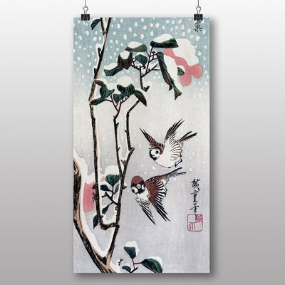 Big Box Art Japanese Oriental Sparrows and Camellias by Hiroshige Art Print