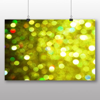 Big Box Art Green Blurred Fairy Lights Abstract No.2 Graphic Art Wrapped on Canvas