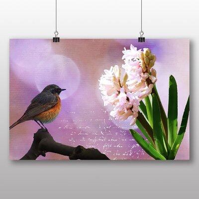 Big Box Art Hyacinth Throttle Bird Flower Graphic Art Wrapped on Canvas