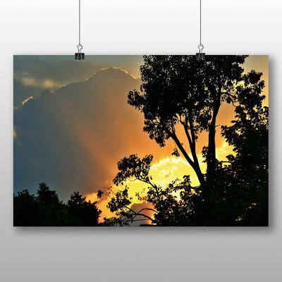 Big Box Art Gold Upon Blue Sunset Photographic Print Wrapped on Canvas