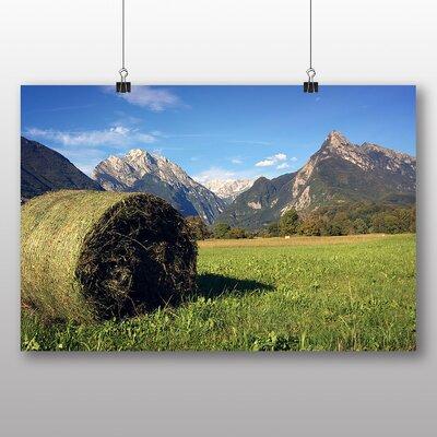 Big Box Art Hay Bale Slovenia Alps Photographic Print Wrapped on Canvas