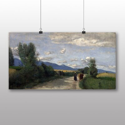 Big Box Art 'With Cow' by Jean Baptiste Camille Corot Art Print