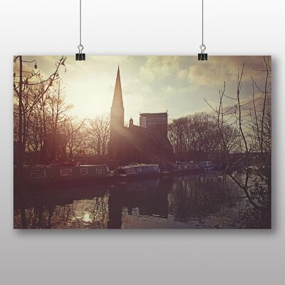 Big Box Art London Canal Barge No.2 Photographic Print Wrapped on Canvas