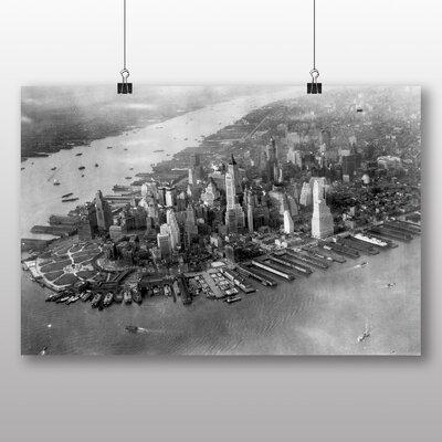 Big Box Art Manhattan new York Skyline Vintage Photographic Print Wrapped on Canvas