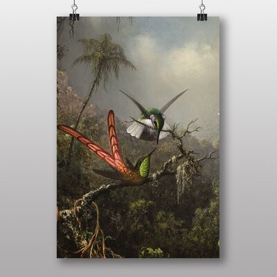 Big Box Art Heade Orchid with Two Hummingbirds by Martin Johnson Heade Art Print