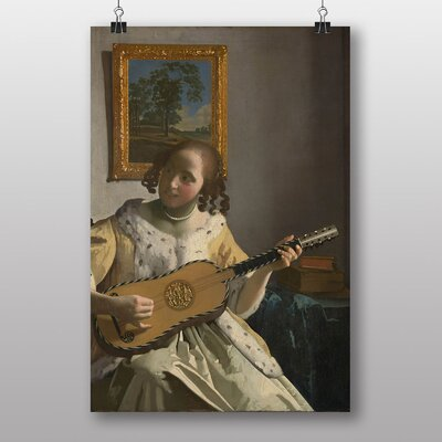 Big Box Art Girl Playing Instrument by Johannes Vermeer Art Print