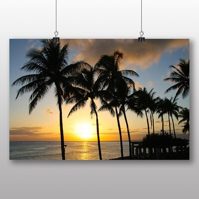Big Box Art Hawaii Sunset Palm Trees Photographic Print Wrapped on Canvas