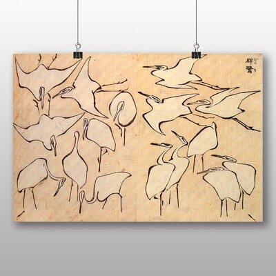 "Big Box Art ""Cranes Japanese Oriental Art"" by Hokusai Art Print"