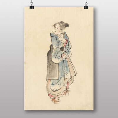 "Big Box Art ""Woman Walking Japanese Oriental Art"" by Hokusai Art Print"