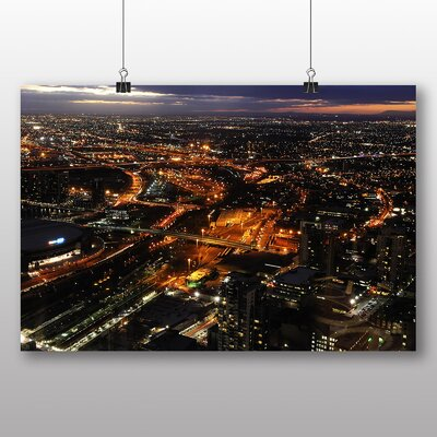 Big Box Art Melbourne Australia Skyline at Night Photographic Print Wrapped on Canvas