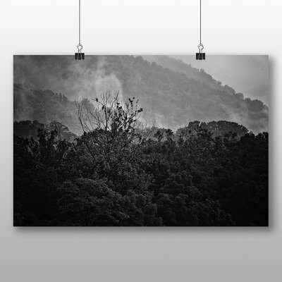 Big Box Art Mountains and Fog with Vultures Photographic Print Wrapped on Canvas
