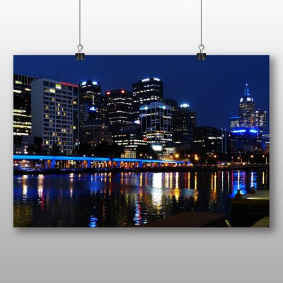 Big Box Art Melbourne At Night Australia Photographic Print Wrapped on Canvas