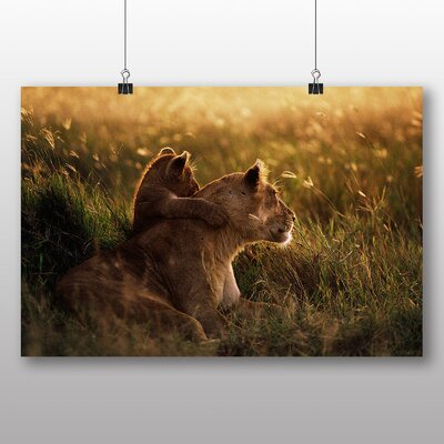 Big Box Art Lion Lioness with Cub Photographic Print