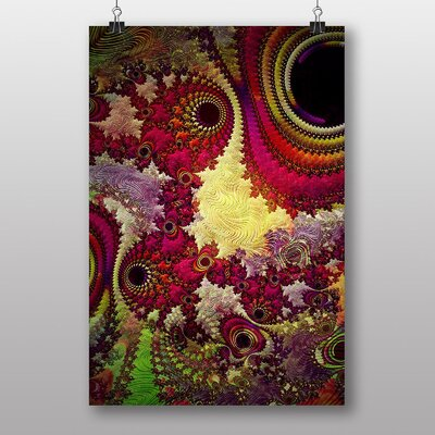 Big Box Art Mixed Colour Fractal Abstract No.2 Graphic Art Wrapped on Canvas