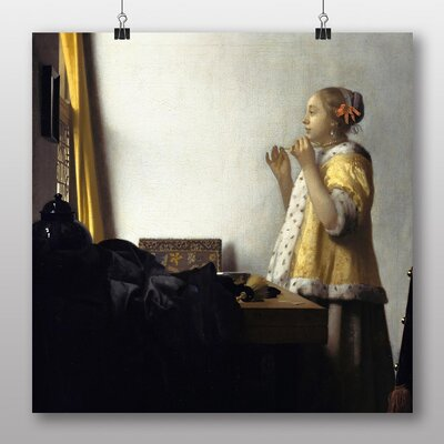 Big Box Art 'Young Woman with a Pearl Necklace' by Johannes Vermeer Art Print