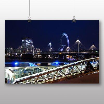 Big Box Art London Eye at Night Photographic Print on Canvas