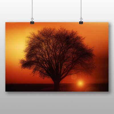 Big Box Art Lone Tree Sunset No.2 Graphic Art Wrapped on Canvas