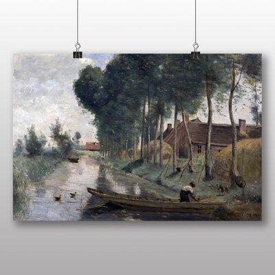 Big Box Art 'Boat in Lake' by Jean Baptiste Camille Corot Art Print