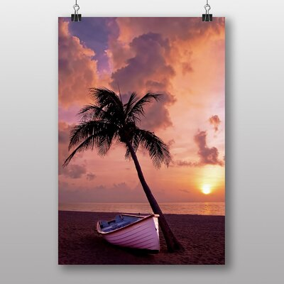 Big Box Art Palm Tree Tropical Beach Paradise No.6 Graphic Art Wrapped on Canvas
