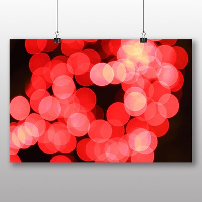 Big Box Art Pink Blurred Fairy Lights Abstract No.5 Photographic Print Wrapped on Canvas