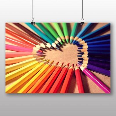 Big Box Art Love Heart Pencil Crayons Photographic Print on Canvas