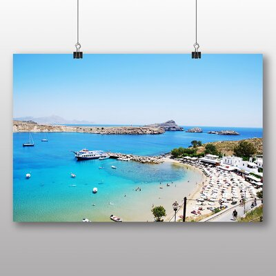 Big Box Art Lindos Beach Rhodes Photographic Print Wrapped on Canvas