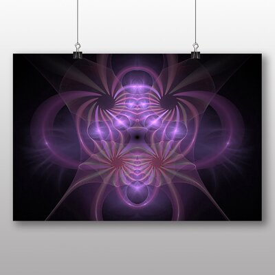 Big Box Art Pink Purple Fractal Abstract No.21 Graphic Art Wrapped on Canvas