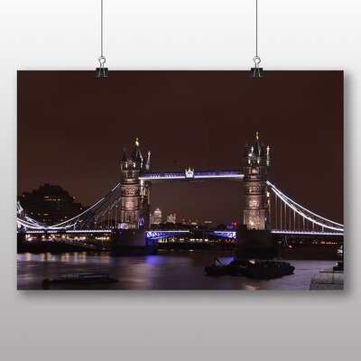 Big Box Art London Bridge at Night Photographic Print on Canvas