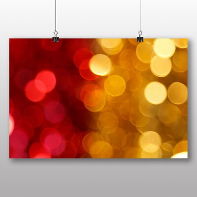 Big Box Art Red and Yellow Blurred Fairy Lights Abstract No.3 Graphic Art Wrapped on Canvas