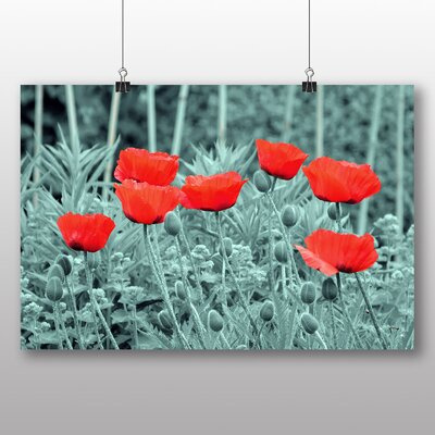 Big Box Art Red Poppy Field Flowers No.6 Graphic Art Wrapped on Canvas