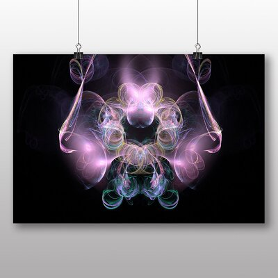 Big Box Art Pink Purple Fractal Abstract No.16 Graphic Art Wrapped on Canvas