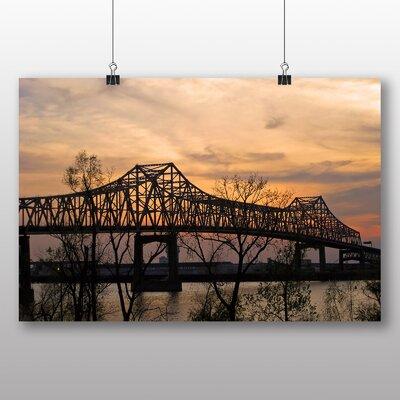 Big Box Art Mississippi Bridge Sunset USA Photographic Print on Canvas