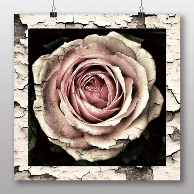 Big Box Art Pink Rose Flower No.2 Graphic Art Wrapped on Canvas