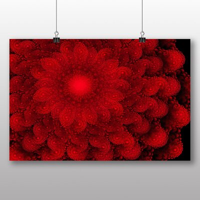 Big Box Art Red Floral Fractal Abstract No.2 Graphic Art Wrapped on Canvas
