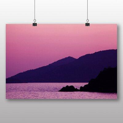 Big Box Art Purple Mountain Sunset Photographic Print Wrapped on Canvas