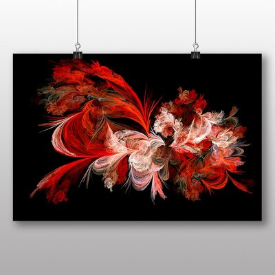 Big Box Art Red Floral Fractal Abstract No.1 Graphic Art Wrapped on Canvas