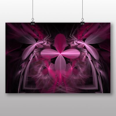 Big Box Art Pink Purple Fractal Abstract No.5 Graphic Art Wrapped on Canvas